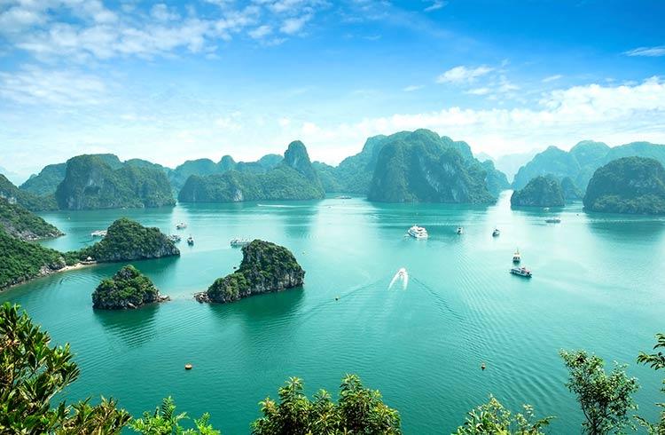 Una foto della baia di Halong